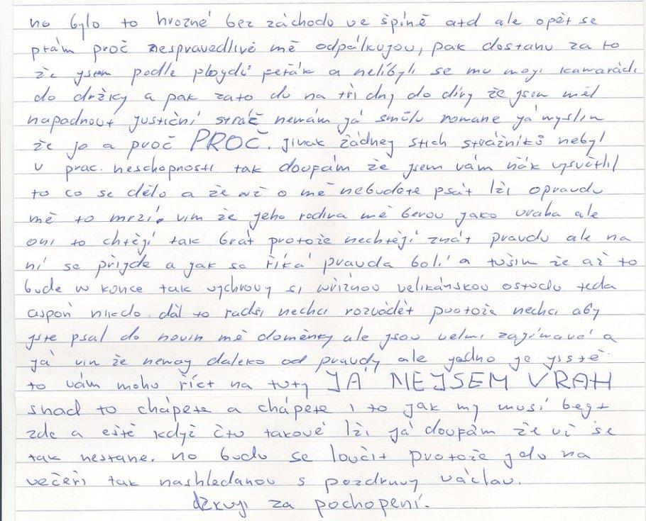 """Matějka z vězení do redakce Deníku poslal několik dopisů. Opakoval v nich stále to samé: """"Jsem nevinný."""""""