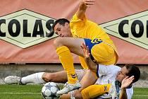 O vítězný gól Jihlavy se v pátek proti Kladnu postaral Arnold Šimonek (ve žlutém).