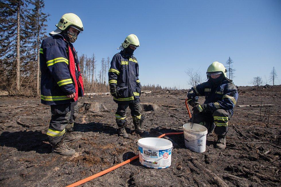 Dohašování ohnisek požáru z 6. - 7. dubna 2020 v lese u Kamenice na Jihlavsku.