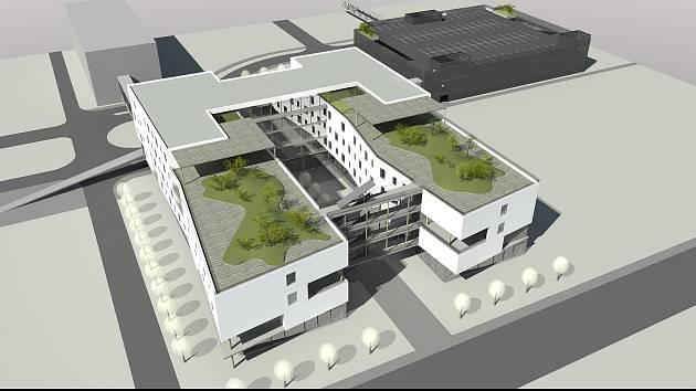 Vizualizace parkovacího domu v areálu Nemocnice Jihlava.