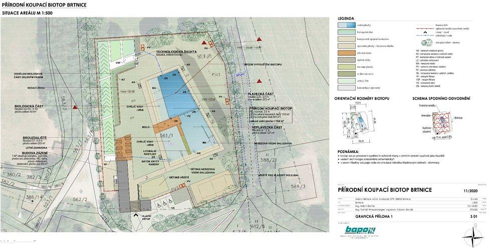 Situační plán koupacího biotopu v Brtnici.