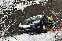 Lednové nehody na Vysočině. V jihlavské v ulici Křižíkova řidič osobního vozidla zřejmě při neopatrném couvání dostal s autem smyk a spadl s vozidlem do řeky.
