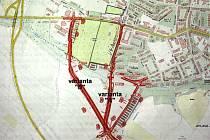 Zastupitelé města musí rozhodnout, kudy vést městský okruh kolem ústředního hřbitova. Reprofoto.