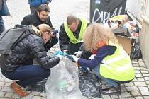 V rámci snahy o nalezení důkazů o zakladatelích černých skládek jihlavští odpadáři a úřednice radnice prohledávají pytle s odpady, ilustrační foto.