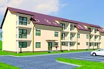 První tři bytové domy, ve kterých bude celkem osmnáct bytových jednotek, by měly v nové čtvrti městyse začít růst v září.