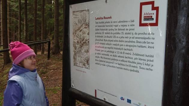 Zatím skrytá před turisty, kteří neznají terén kolem lokality Rounek, zůstává památka po dolování stříbra.