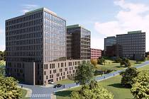 Iglavia park. Komplex administrativních budov, který má vyrůst v Jiráskově ulici na místě, kde se v současnosti nachází stávající sídlo PSJ.