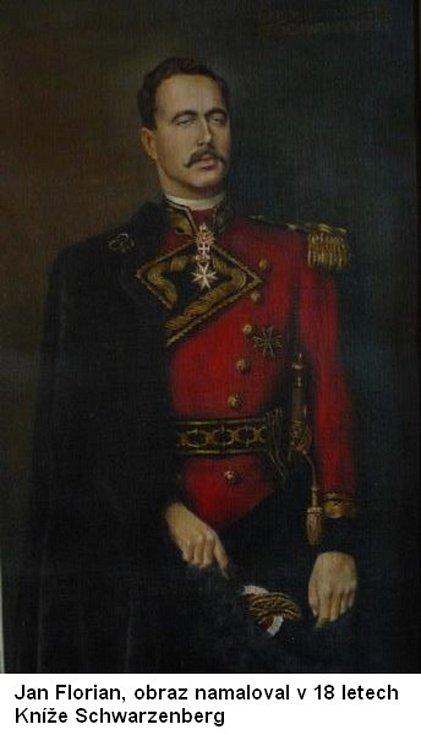 Kníže Schwarzenberg zvěčněný osmnáctiletým Janem Florianem.