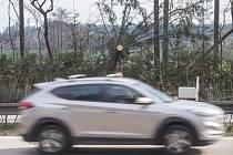 Kolony kvůli popadaným stromům na dálnici D1 okolo 127. kilometru směrem na Brno.