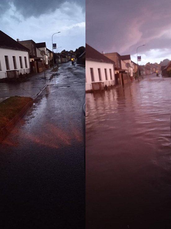 Voda se valila Čenkovskou ulicí v Třešti. Během chvíle byla ulice ve spodní části u železničního přejezdu pod vodou, za pár minut bylo po všem.