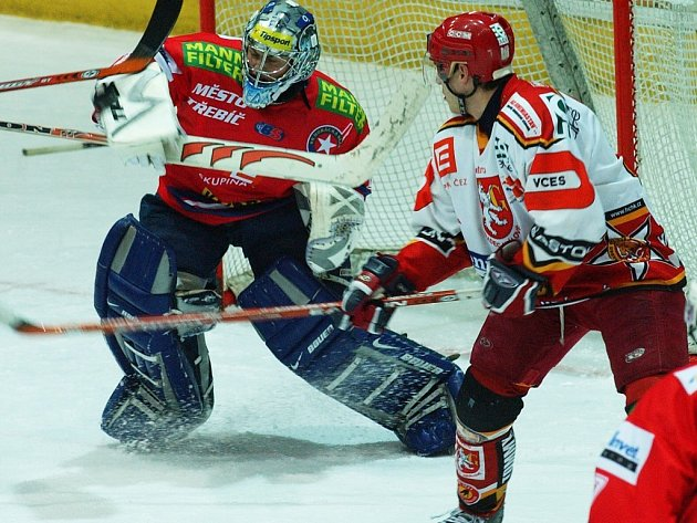Hráči Horácké Slavie (na snímku gólman Michal Nedvídek) chtějí v sérii se třetím týmem skupiny Západ uspět. Hradec Králové letos doma dokázali porazit.