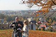 Redaktorka s kameramanem zachycují krásy Vysočiny. Foto: archiv Vysočina Tourism