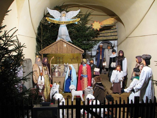 Betlém na Husově náměstí v Polné. Ilustrační snímek