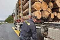 Policie kontrolovala auta převážející dřevo.
