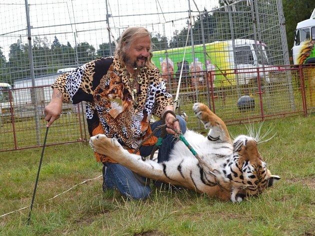 Cirkus, který navštíví v příštím týdnu Jihlavu, je známý svým principálem Jaromírem Joo a tygry.