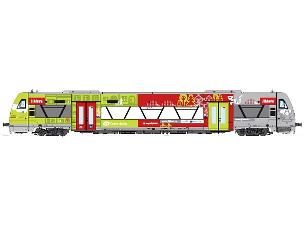 Jeden z nových vlaků RegioSpider Českých drah, které jezdí na Vysočině, má polep, který propaguje město a láká tím turisty.