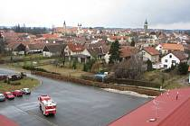 Pohled z věže zbrojnice na město Telč