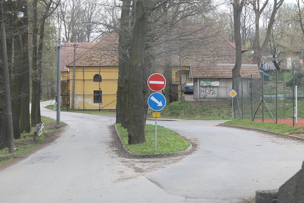 Kuriózní úsek, kde silnici rozdělují stromy