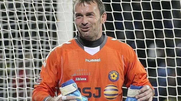Brankář Vysočiny Jaromír Blažek měl po utkání se Spartou mnoho důvodů k úsměvu.