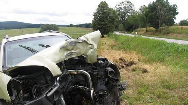 Řidič vozu Hyundai se poblíž Batelova nevěnoval řízení a narazil do stromu.