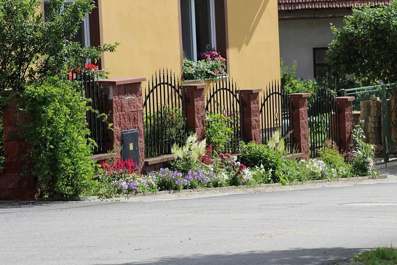 Květiny před domy ve Zhoři.