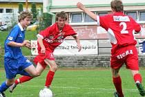 Středeční předehrávka I. ligy mladších dorostenců přinesla přestřelku. Olomouc pěti góly v řadě smetla mladší dorostence FC Vysočina (vlevo Petr Pražák) 7:3.