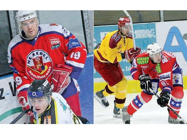 Hokejisty Třebíče posílil havlíčkobrodský Rebel Aleš Kreuzer (v červeném vlevo), který v prvním třebíčském  útoku nahradí Přemysla Sedláka (v červeném vpravo). I když o něj měl kouč Kamil Pokorný zájem i nadále, útočník zamířil do brněnské Komety.