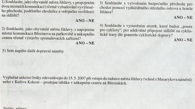Špatně vytištěný anketní lístek v Novinách jihlavské radnice.