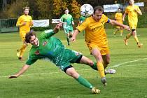 Fotbalisté Rantířova (v zeleném) a Luk nad Jihlavou (ve žlutém) skončili po podzimu v horní části tabulky. Jejich vzájemné derby skončilo dělbou bodů.