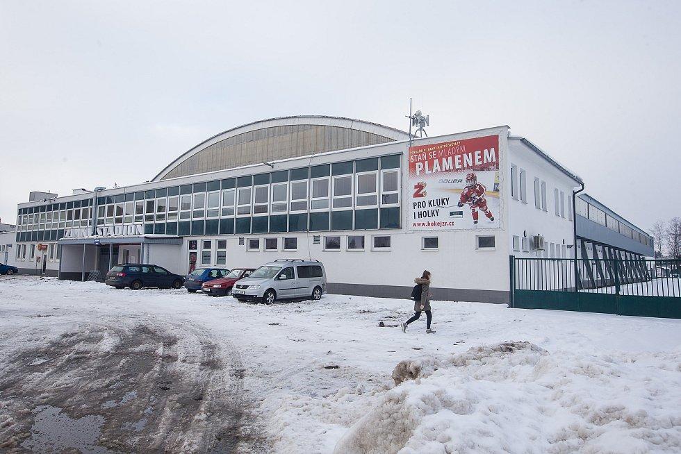 Místo pro budoucí očkovací centrum v prostorách Zimního stadionu ve Žďáře nad Sázavou.