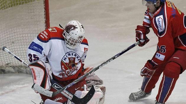 Brankář havlíčkobrodských Rebelů Jaroslav Suchan se vrátil do zápasového kolotoče. Ve středečním utkání první ligy pomohl svému týmu k vítězství nad Ostravou.