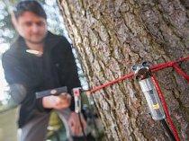 Akustický tomograf ke zjišťování přítomnosti hnilob a dutin v kmenech a větvích stromů.