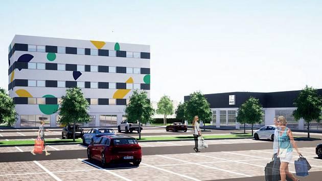 Vizualizace Obchodního centra Polná - polyfunkční dům a supermarket. Zdroj: www.ocpolna.cz