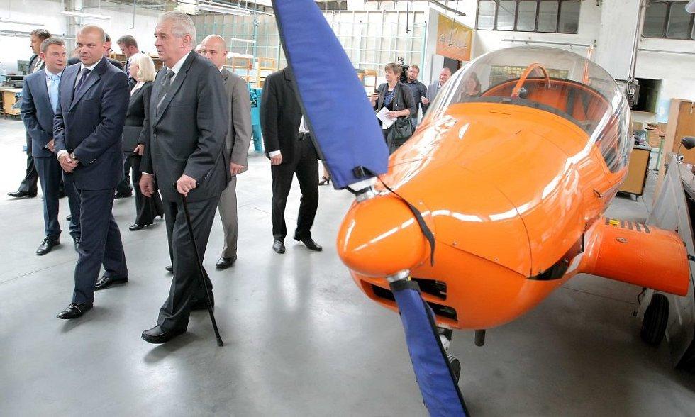 Prezident Miloš Zeman v Jihlavan airplanes.