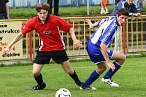 Další důležité vítězství vybojovali třebíčští fotbalisté (vlevo Pavel Smažil). Doma porazili Šardice 2:0 a jsou na nejlepší cestě k záchraně.