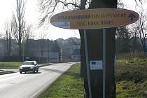 S jednou plechovou navigační cedulí na neexistující výstavu se  řidiči setkají při vjezdu do Velkého Beranova. Umístěna je jen několik metrů od začátku obce.