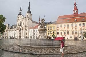 Nově opravená kašna na Masarykově náměstí v Jihlavě.