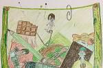 """Distanční vzdělávání ve výtvarném oboru a téma pro toto pololetí """" Pod povrch"""" - ukázky z výtvarné řady """" Co nosím po kapsách"""". Autory jsou děti ve věku 10-11 let."""