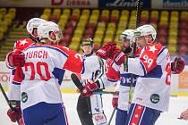 Třebíčští hokejisté se radují z jedné z branek. Tu v prodloužení jim ale rozhodčí nakonec neuznali.