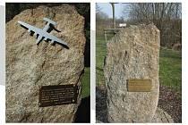 Poškozený památník na pád amerického bombardéru v Polné. Foto: se souhlasem Klubu Za historickou Polnou