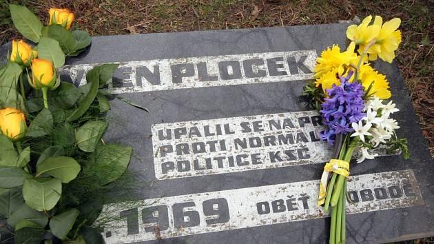 Pomníček Evžena Plocka v Jihlavě.