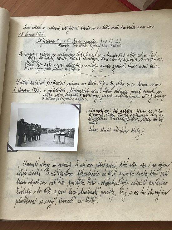 Ukázka z kroniky fotbalového klubu SK Jihlava.