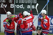Tenhle obrázek by fanoušci třebíčských hokejistů rádi viděli co nejčastěji. Poslední tři zápasy totiž Horácká Slavia prohrála a pokud chce udržet kontakt s týmy před sebou, měla by proti třinácté Porubě bodovat.