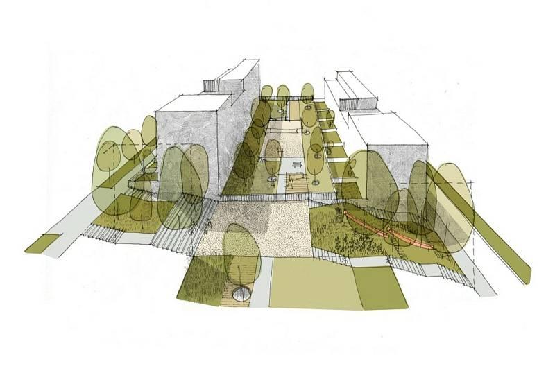 Jihlavská radnice na  veřejném projednání v červnu 2020 představila, jak  si ateliér Vesměs architekti představuje budoucnost lokality Handlovy Dvory na kraji města.
