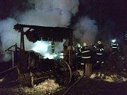 Požár chaty v Jihlavě.