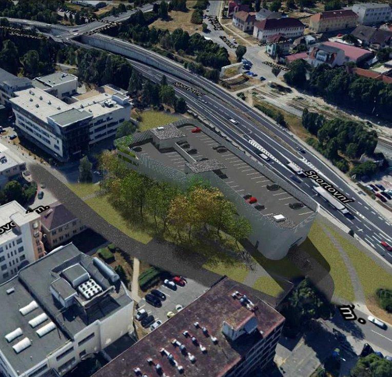 Vizualizace nového parkovacího domu u třebíčské nemocnice.