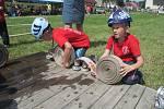 Hasičská soutěž dětí 9. června v Růžené. Na obrázku tým z Třeštice.