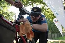 U stánku jihlavské městské policie mohli cyklisté získat reflexní bezpečnostní prvky na kolo.