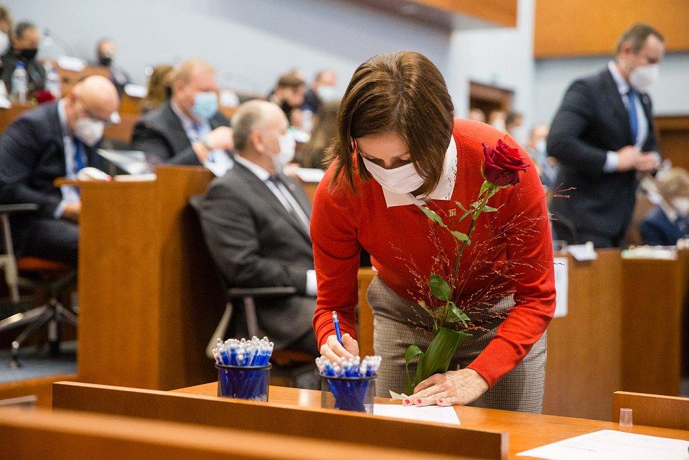 Karolína Koubová na ustavující zasedání zastupitelstva Kraje Vysočina.