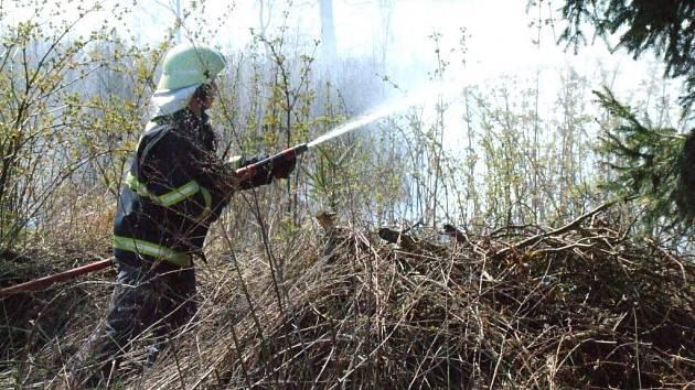 Celkem 15 větších požárů musely likvidovat hasičské jednotky po celé Vysočině. Snímek je z kraje lesa nad rybníkem Žabinec v Havlíčkově Brodě.